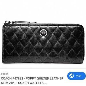 Coach Poppy Quilted Leather Slim Zip Wallet